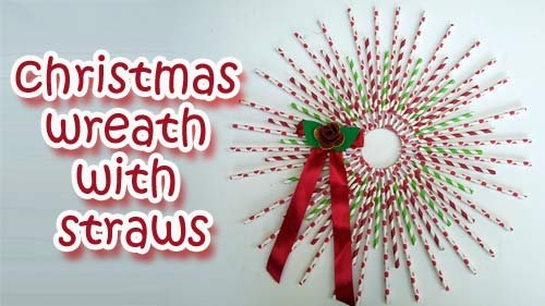 Christmas wreath with straws